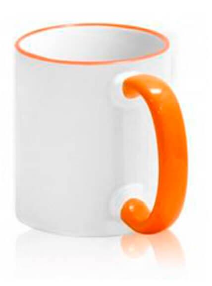 Цветная чашка с (цветной ободок и ручка) №1