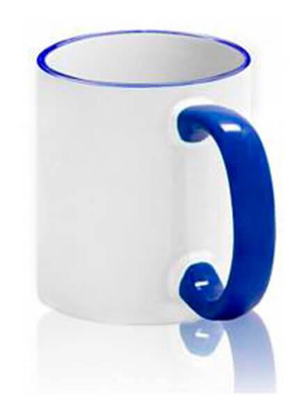 Цветная чашка с (цветной ободок и ручка) №4
