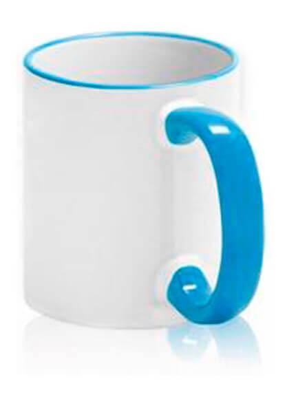 Цветная чашка с (цветной ободок и ручка) №6