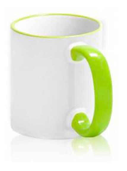 Цветная чашка с (цветной ободок и ручка) №7