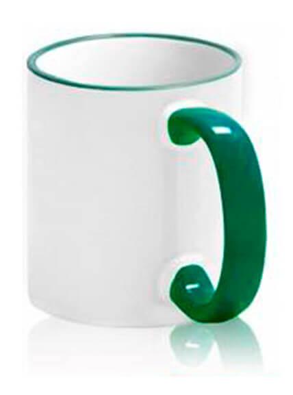 Цветная чашка с (цветной ободок и ручка) №8
